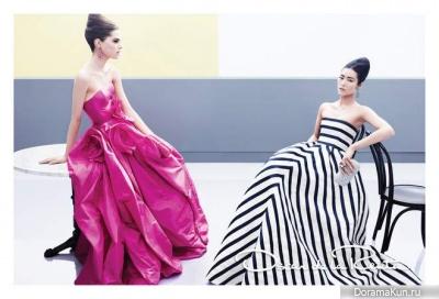 Liu Wen & Caroline Brasch Nielsen для Oscar de la Renta Spring 2013 Campaign