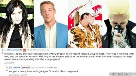 G-Dragon и CL работают с Diplo и Skrillex