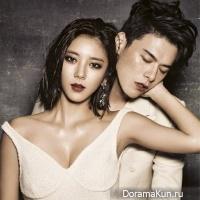 Сон Дам Би позирует с моделью Ким Вон Джуном для Grazia