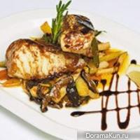 Seabass under unagi sauce with vegetables