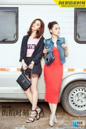 Charlene Choi, Gillian Chung (Twins) Street style photoshoot Extra August 2016