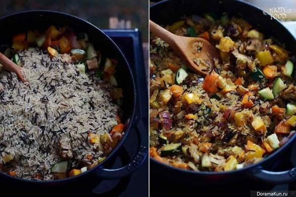 Острый рис с овощами и карри