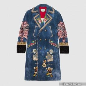 Gucci's blue velvet embroidered coat
