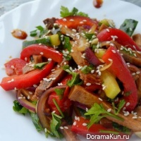 Salad with tongue and vegetables